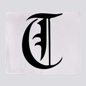 Gothic Initial T Throw Blanket