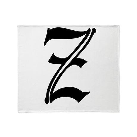 Gothic Initial Z Throw Blanket