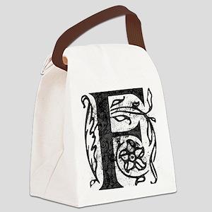 Fancy Monogram F Canvas Lunch Bag