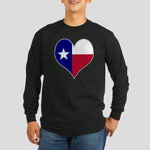I Love Texas Flag Heart Long Sleeve Dark T-Shirt