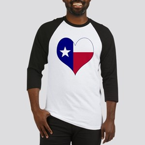 I Love Texas Flag Heart Baseball Jersey