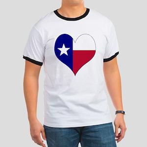 I Love Texas Flag Heart Ringer T