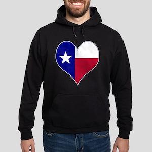 I Love Texas Flag Heart Hoodie (dark)