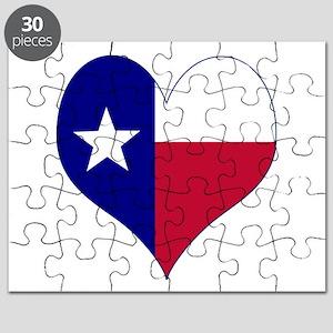 I Love Texas Flag Heart Puzzle