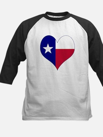 I Love Texas Flag Heart Kids Baseball Jersey