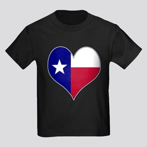 I Love Texas Flag Heart Kids Dark T-Shirt