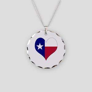 I Love Texas Flag Heart Necklace Circle Charm