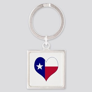 I Love Texas Flag Heart Square Keychain