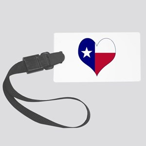 I Love Texas Flag Heart Large Luggage Tag