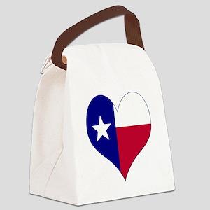 I Love Texas Flag Heart Canvas Lunch Bag