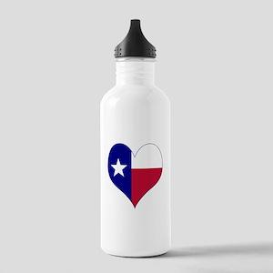 I Love Texas Flag Heart Stainless Water Bottle 1.0