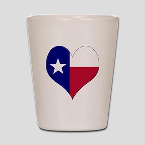 I Love Texas Flag Heart Shot Glass