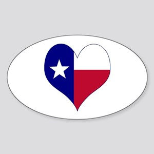 I Love Texas Flag Heart Sticker (Oval)