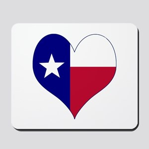 I Love Texas Flag Heart Mousepad