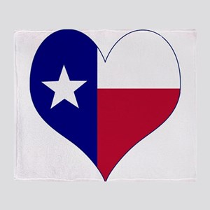 I Love Texas Flag Heart Throw Blanket
