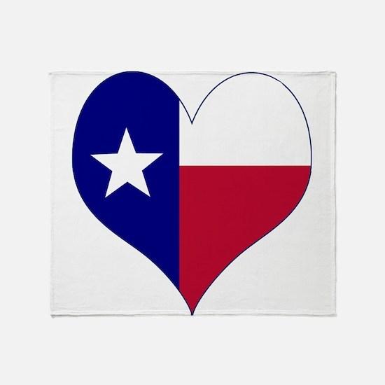 I Love Texas Flag Heart Throw Blanket