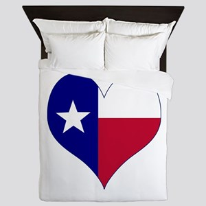 I Love Texas Flag Heart Queen Duvet