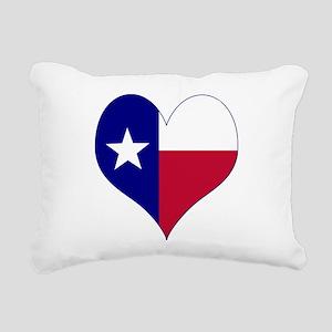 I Love Texas Flag Heart Rectangular Canvas Pillow