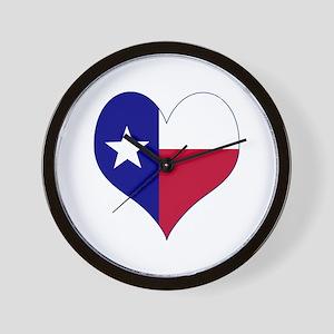 I Love Texas Flag Heart Wall Clock