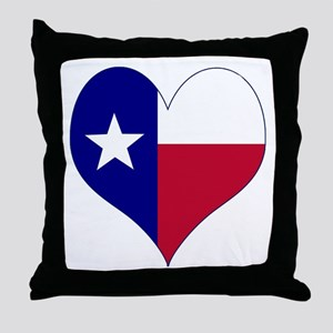 I Love Texas Flag Heart Throw Pillow