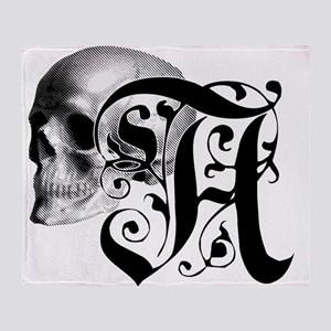 Gothic Skull Initial A Throw Blanket