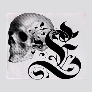 Gothic Skull Initial E Throw Blanket