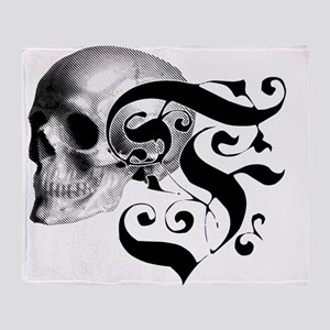Gothic Skull Initial F Throw Blanket