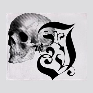 Gothic Skull Initial I Throw Blanket