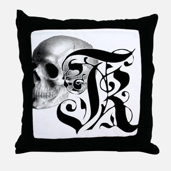 Gothic Skull Initial K Throw Pillow