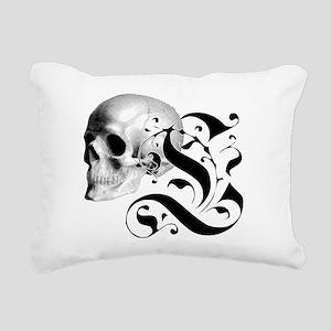 Gothic Skull Initial L Rectangular Canvas Pillow