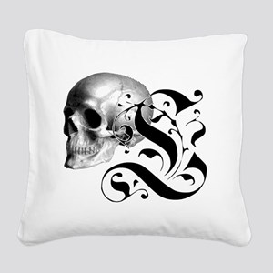 Gothic Skull Initial L Square Canvas Pillow