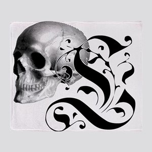 Gothic Skull Initial L Throw Blanket