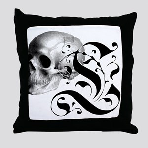 Gothic Skull Initial L Throw Pillow