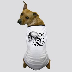 Gothic Skull Initial L Dog T-Shirt
