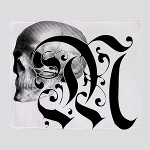 Gothic Skull Initial M Throw Blanket
