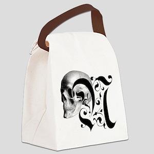 Gothic Skull Initial N Canvas Lunch Bag