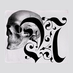 Gothic Skull Initial N Throw Blanket