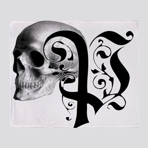 Gothic Skull Initial P Throw Blanket