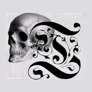 Gothic Skull Initial T Throw Blanket