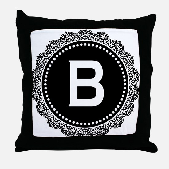 Monogram Medallion B Throw Pillow