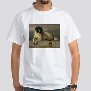 Newfoundland-Landseer Resting by the Shore T-Shirt