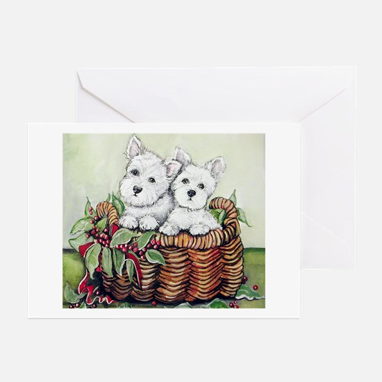 Westie Puppy Basket Greeting Cards (Pk of 10)