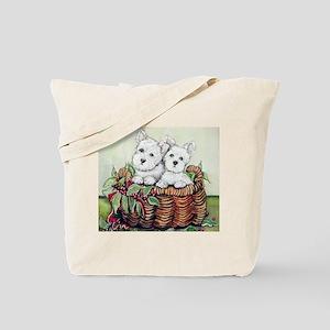 Westie Puppy Basket Tote Bag