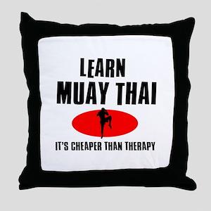 Muay Thai silhouette designs Throw Pillow