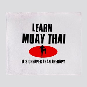 Muay Thai silhouette designs Throw Blanket