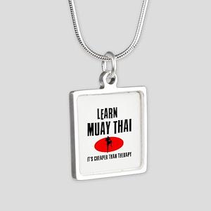 Muay Thai silhouette designs Silver Square Necklac