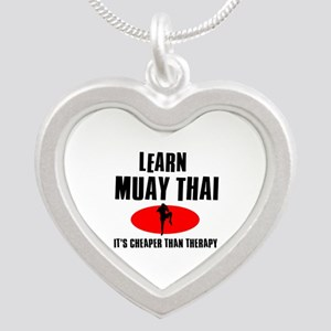 Muay Thai silhouette designs Silver Heart Necklace