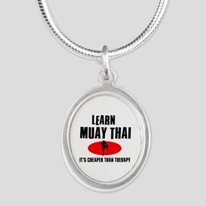 Muay Thai silhouette designs Silver Oval Necklace