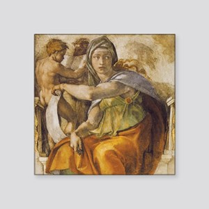 "Michelangelo Delphic Sibyl Square Sticker 3"" x 3"""