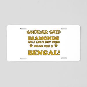 Bengal cat vector designs Aluminum License Plate